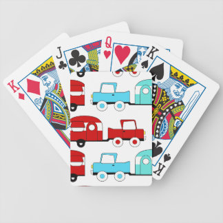 Retro Camping Trailer Turquoise Red Vintage Cars Playing Cards