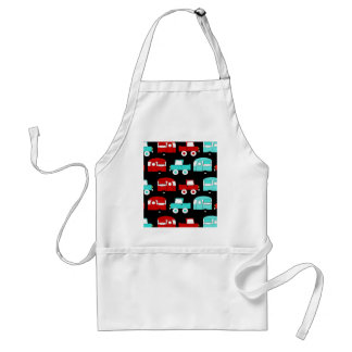 Retro Camping Trailer Turquoise Red Vintage Cars Standard Apron