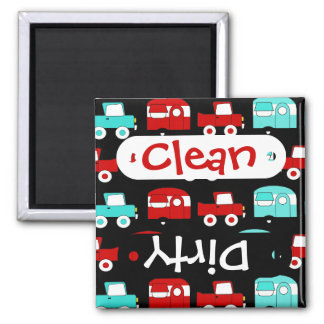 Retro Camping Trailer Turquoise Red Vintage RV Magnet