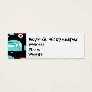 Retro Camping Trailer Turquoise Red Vintage RV Mini Business Card