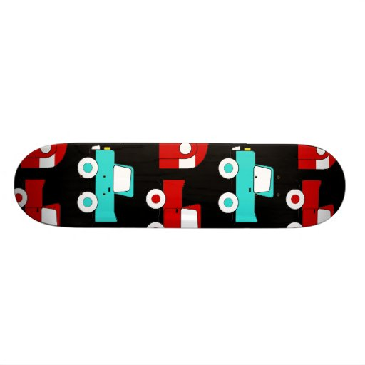 Retro Camping Trailer Turquoise Red Vintage RV Skateboard