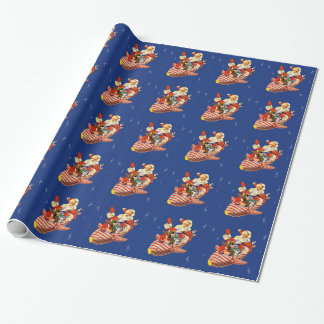 Retro Candy Rocket Santa Wrapping Paper