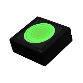 Retro Candy Swirl in Lime Green Small Square Gift Box
