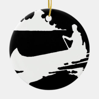 Retro Canoe Silhouette Ceramic Ornament