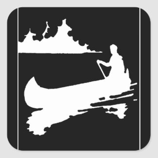 Retro Canoe Silhouette Square Sticker