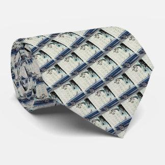 Retro Car Checkered Pattern Necktie Fathers Day