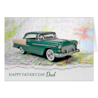 retro car on map for Father's Day Card