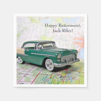 retro car on road map for Retirement Paper Napkin