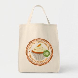 Retro Carrot Cupcake Grocery Tote Bag