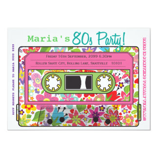 Retro Casette Tape 80s Party Theme Invitation