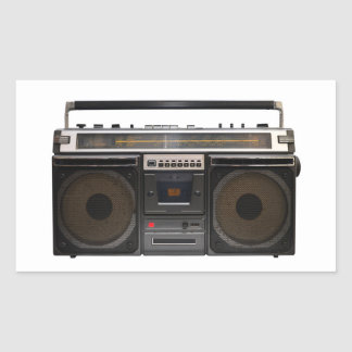 retro cassette player music stereo tape vintage rectangular sticker