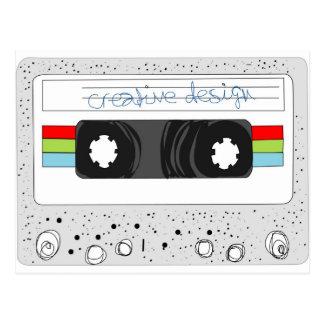 Retro cassette tape 80s style postcard