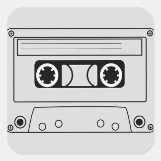 Retro cassette tape grunge music square sticker