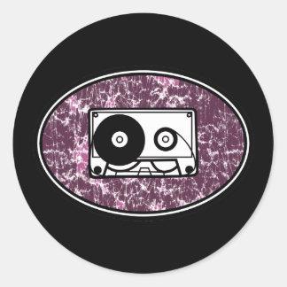 Retro Cassette Tape Pink Round Sticker