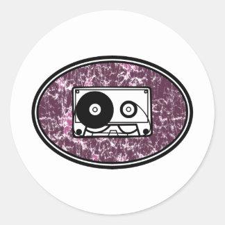 Retro Cassette Tape Pink Round Stickers