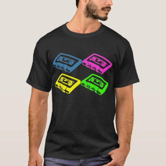 Retro cassette tape pop art colourful t-shirt