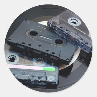 Retro Cassette Tapes Round Sticker