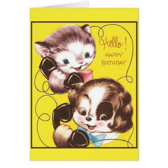 Retro Cat And Dog Birthday Greeting Card