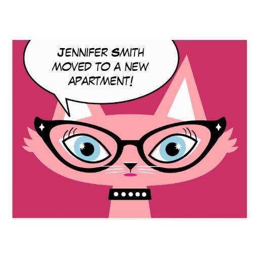 "Retro Cat Cartoon ""I moved"" New Address Postcard"