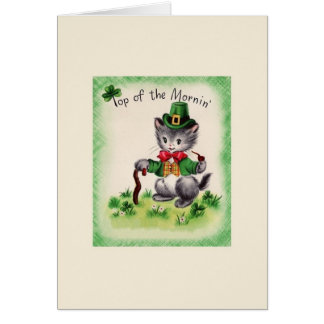 Retro Cat Leprechaun St. Patrick's Day Card