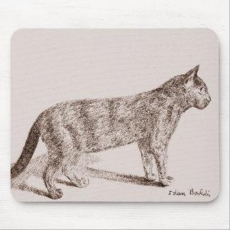 Retro Cat Sketch Nostalgic Children Book Style Mousepads
