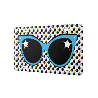 Retro Cat Sunglasses Pattern with Blue