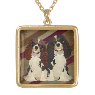Retro Cavalier King Charles Dogs  Necklace