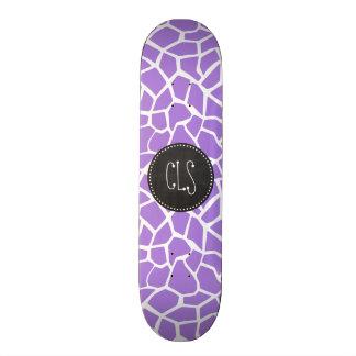 Retro Chalk; Amethyst Purple Giraffe Animal Print Skateboards