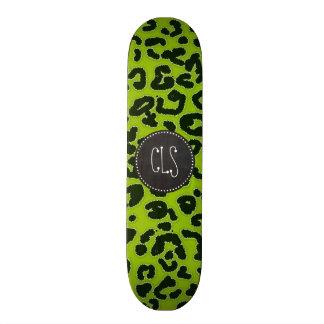 Retro Chalkboard; Apple Green Leopard Animal Print Skateboard Deck