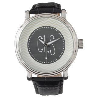 Retro Chalkboard; Beige Chevron; zig zag Wristwatches