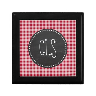 Retro Chalkboard Carmine Red Gingham Checkered Gift Boxes