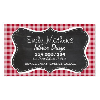 Retro Chalkboard; Carmine Red Gingham; Checkered Pack Of Standard Business Cards