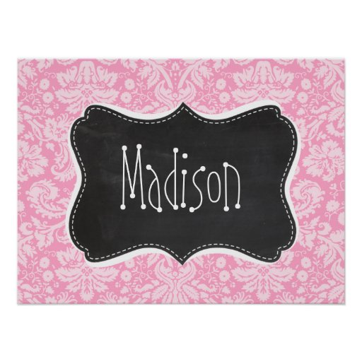 Retro Chalkboard Carnation Pink Damask Pattern Posters