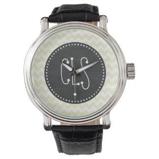 Retro Chalkboard; Cream Chevron; zig zag Wrist Watch