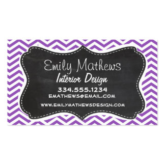 Retro Chalkboard; Deep Lilac Chevron Double-Sided Standard Business Cards (Pack Of 100)