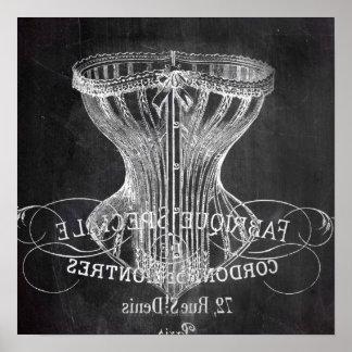 Retro chalkboard scripts victorian lingerie corset poster