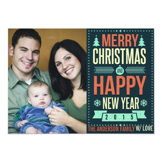 Retro Chalkboard Typography Christmas Photo Card