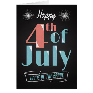 Retro Chalkboard with Fireworks for 4th of July Greeting Card