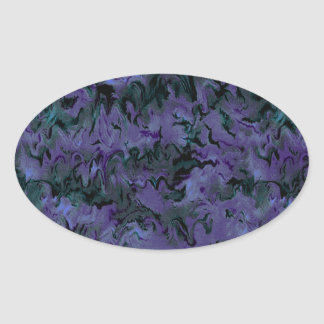 Retro Charcoal Purple Abstract Oval Sticker