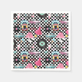 Retro Checker 50's Fifties Theme Birthday Party Disposable Serviettes