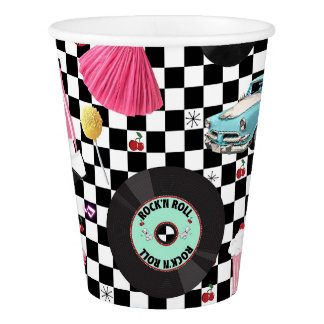 Retro Checker 50's Fifties Theme Birthday Party Paper Cup