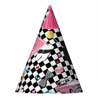 Retro Checker 50's Fifties Theme Birthday Party Party Hat