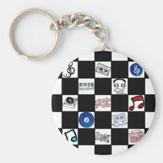 Retro Checkerboard Music Cassettes & More Basic Round Button Key Ring