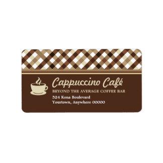 Retro Checkered Coffee Bar Address Label