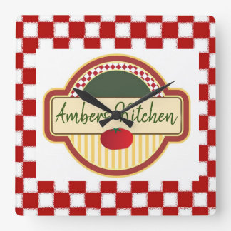 Retro Checkered with Tomato Square Wall Clock