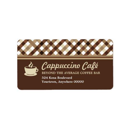 Retro Chequered Coffee Bar Address Address Label