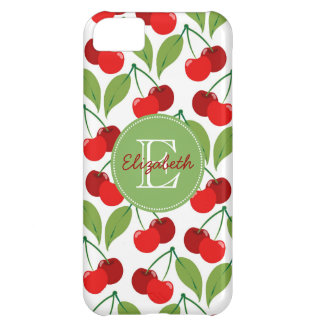 Retro Cherries Monogrammed iPhone 5C Case
