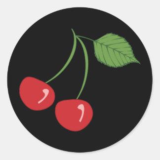 Retro Cherries Round Sticker