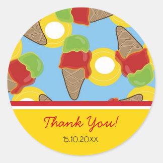 Retro Cherry and Lime Ice Cream Gift / Favor / TQ Round Sticker