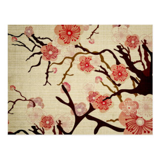 Retro Cherry Blossom Postcard